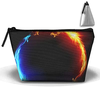 WQWSVX Blue And Red Fire Dragons Fashion Travel Bag Trapezoid