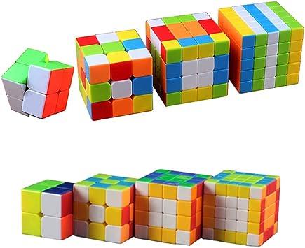 MZStech 4 Pack Cubo mágico Set 2x2x2 3x3x3 4x4x4 5x5x5 Stickerless ...