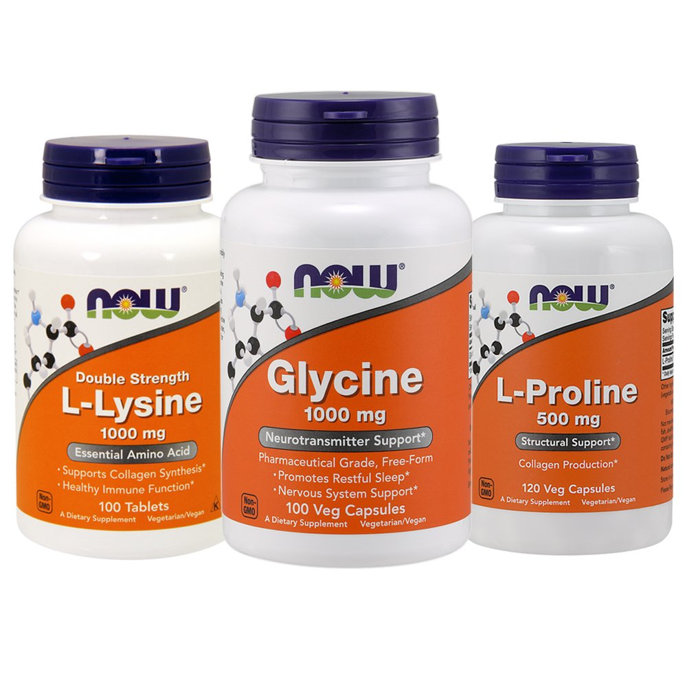 VEGAN COLLAGEN SYNTHESIS BUNDLE: L-Lysine 1000mg x 100 +