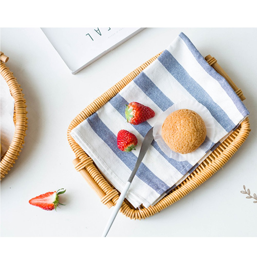 Woven Bread Roll Baskets Food Tabletop Serving Baskets Fruit Basket Bread Tray Rattan & Wicker Basket Tabletop Serving /Diplay/Storage/Picnic Baskets,Restaurant Serving,Willow Basket (Rectangle)