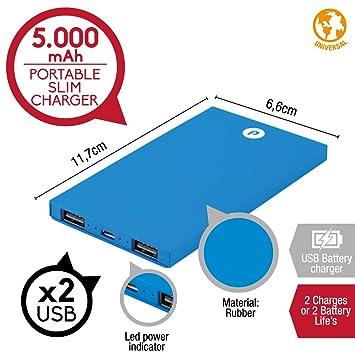 Power bank Slim de 5000mAh Azul 2 puertos de salida, Cargador ...