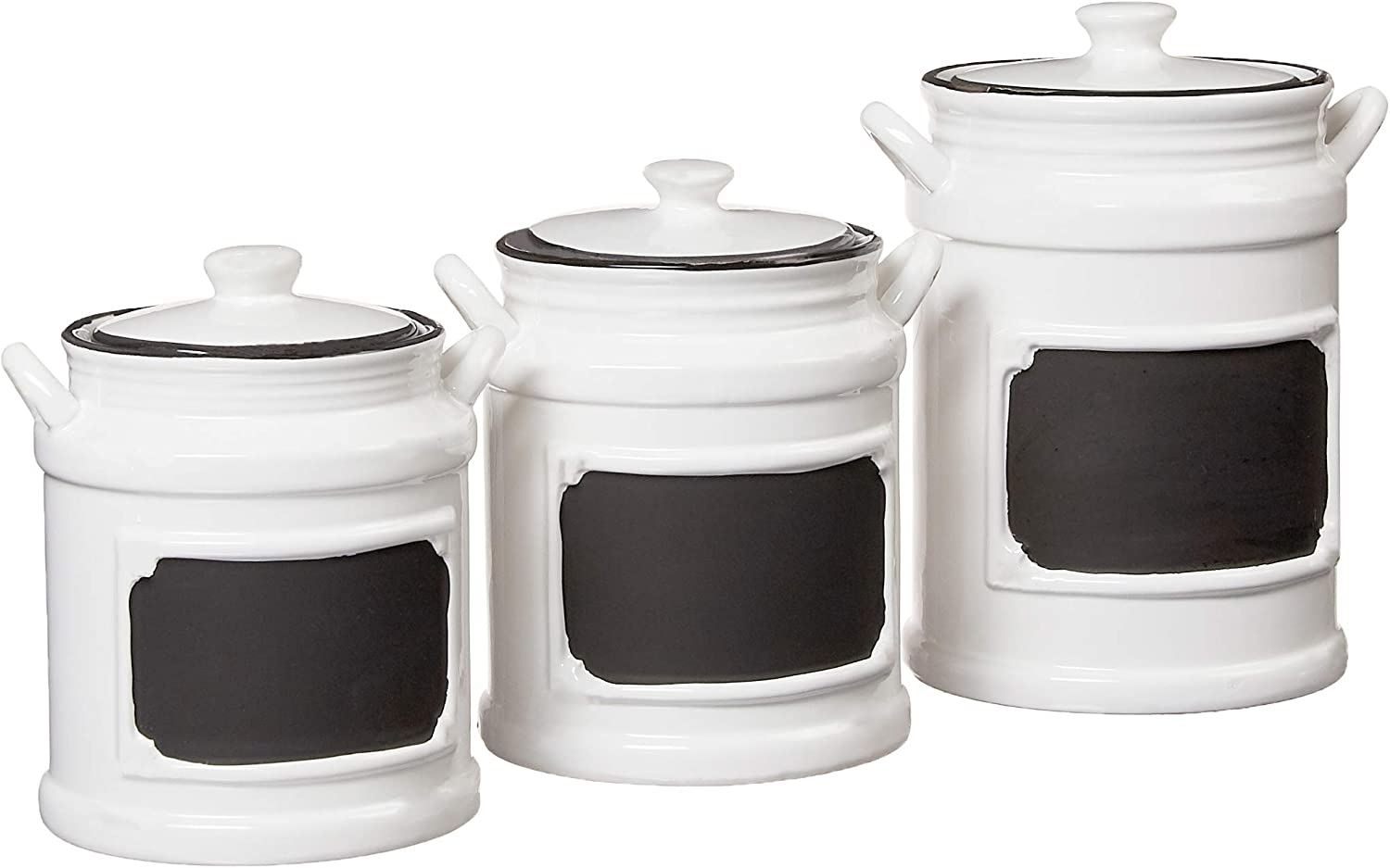 Amazon Com American Atelier Vintage Canister Set 3 Piece Ceramic Jars Chic Design With Lids For Cookies Candy Coffee Flour Sugar Rice Pasta Cereal More 21x8x11 White Black Kitchen Dining