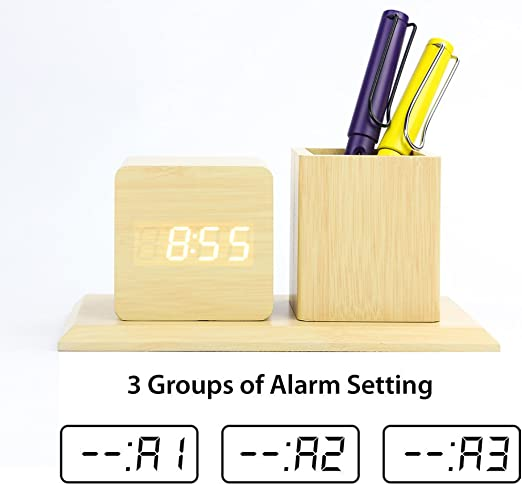 Time Date Temperature Display GREENIC Wooden Digital Alarm Clock 3 Alarm Sets Triangular USB Powered//Battery Operated