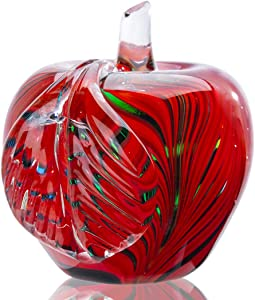 Qf Crystal Apple Figurine Home Decor Table Centerpiece Glass Apple Paperweight