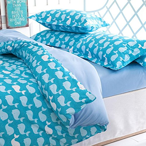 Ttmall Twin Full Size 4-pieces Blue White Cute Toddler Cartoon Whale for Kids Prints Duvet Cover Sets (Full , 4pcs Without Comforter-31)