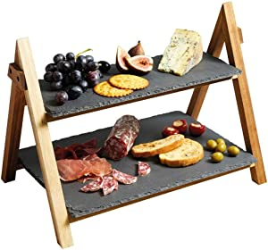 LiebHome Cheese Board/Slate Cake Stand - 2 Tier Cake Stand Serving Stand, Dessert Stand - Triangular Serving Stand for Parties, Birthdays and Weddings - 41 x 33 x 25 cm