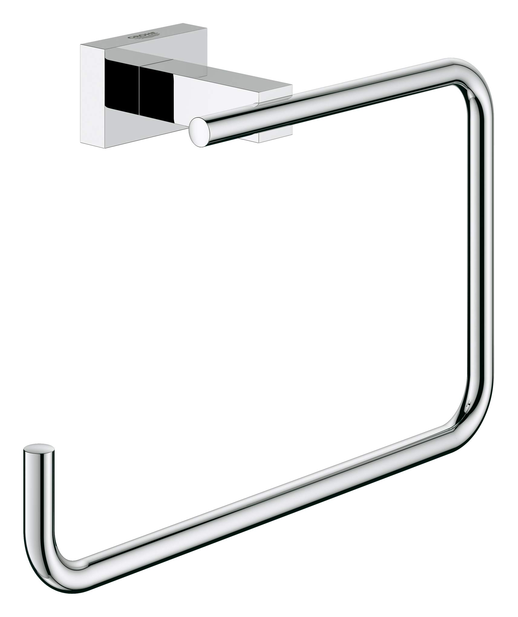 GROHE 40510001 Essentials Cube 8 In. Towel Ring, Starlight Chrome by GROHE