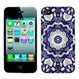 iPhone 4s Case Cute,iPhone 4 Case for Girls,ChiChiC Full Protective Stylish Case Slim Durable Soft TPU Cases Cover for iPhone 4 4g 4s,Silvery Henna Mandala Datura Floral Flower Pattern on Indigo Blue