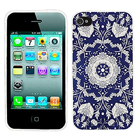 iPhone 4s Case Cute,iPhone 4 Case for Girls, ChiChiC full Protective Stylish Case slim durable Soft TPU Cases Cover for iPhone 4 4g 4s,geometric silvery mandala floral pattern on indigo (Iphone 4 Case Artsy)