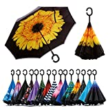 Spar. Saa Double Layer Inverted Umbrella with C-Shaped Handle, Anti-UV Waterproof Windproof Straight Umbrella for Car Rain Outdoor Use (Yellow Daisies): more info