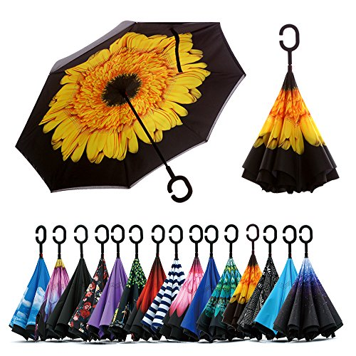 Spar. Saa Double Layer Inverted Umbrella with C-Shaped Handle, Anti-UV Waterproof Windproof Straight Umbrella for Car Rain Outdoor Use (Yellow Daisies) -