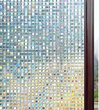 rabbitgoo Vinilos para Ventanas Privacidad 3D Laminas Translucido Vinilo Cristal Ventanas Adhesivos Pegatina para Decorativos, Pelicula Electrostática para Ducha Mampara Ventanas 44.5x200CM