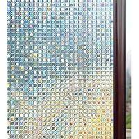 Rabbitgoo 3D Window Films Privacy Film Static Decorative Film Non-Adhesive Heat Control Anti UV Mosaic Pattern