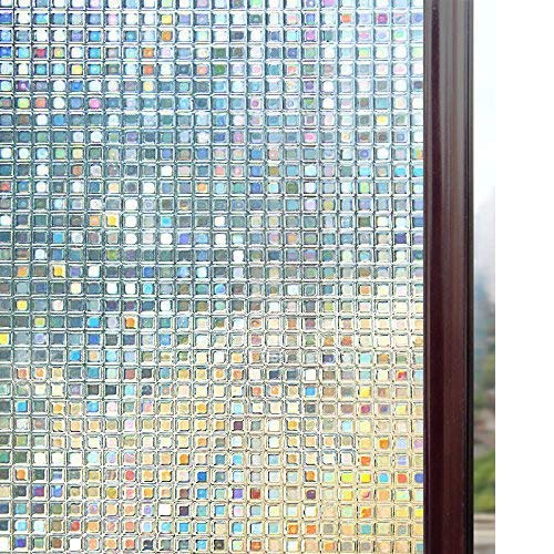 Rabbitgoo 3D Window Films Privacy Film Static Decorative Film Non-Adhesive Heat Control Anti UV 17.5In. by 78.7In. (44.5 x 200Cm) (Static Cling Window)