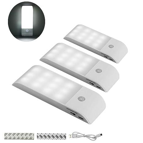 Lámpara de armario, sensor de movimiento, luz de gabinete LED, diseño portátil de