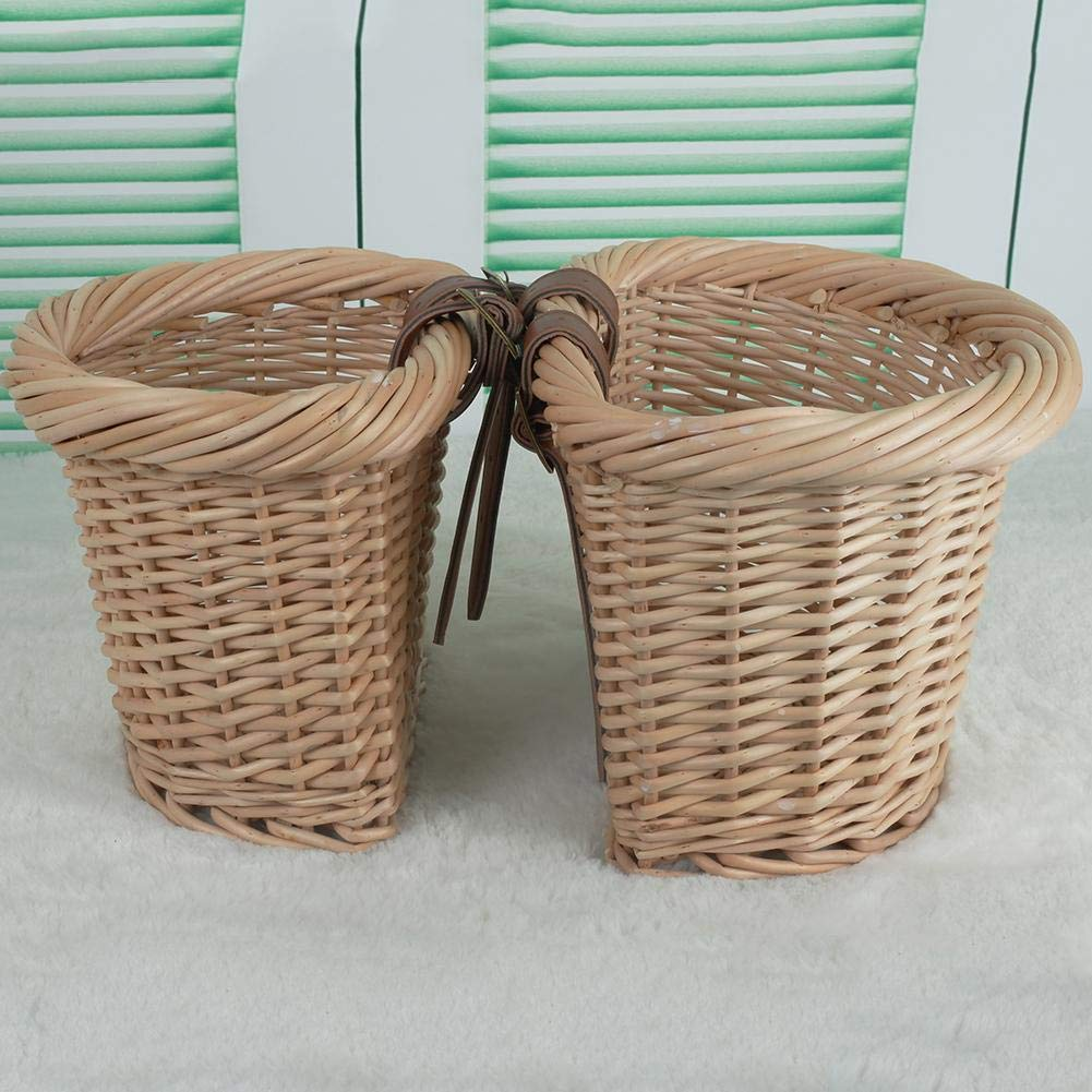 Cesta de bicicleta de mimbre con correas de cuero-Cesta de bicicleta retro delantera Cesta de tela tejida a mano de jard/ín cesta tejida a mano ambientalmente