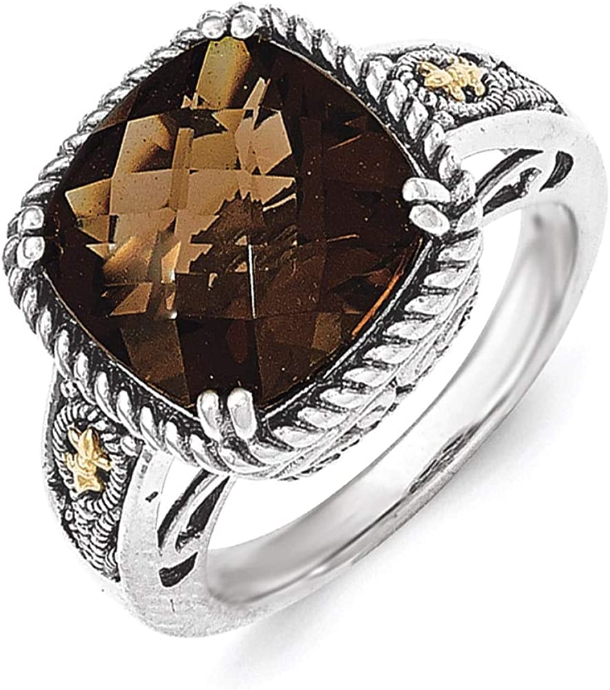 Lex /& Lu 14k Yellow Gold w//Sterling Silver Smoky Quartz Ring LAL93349
