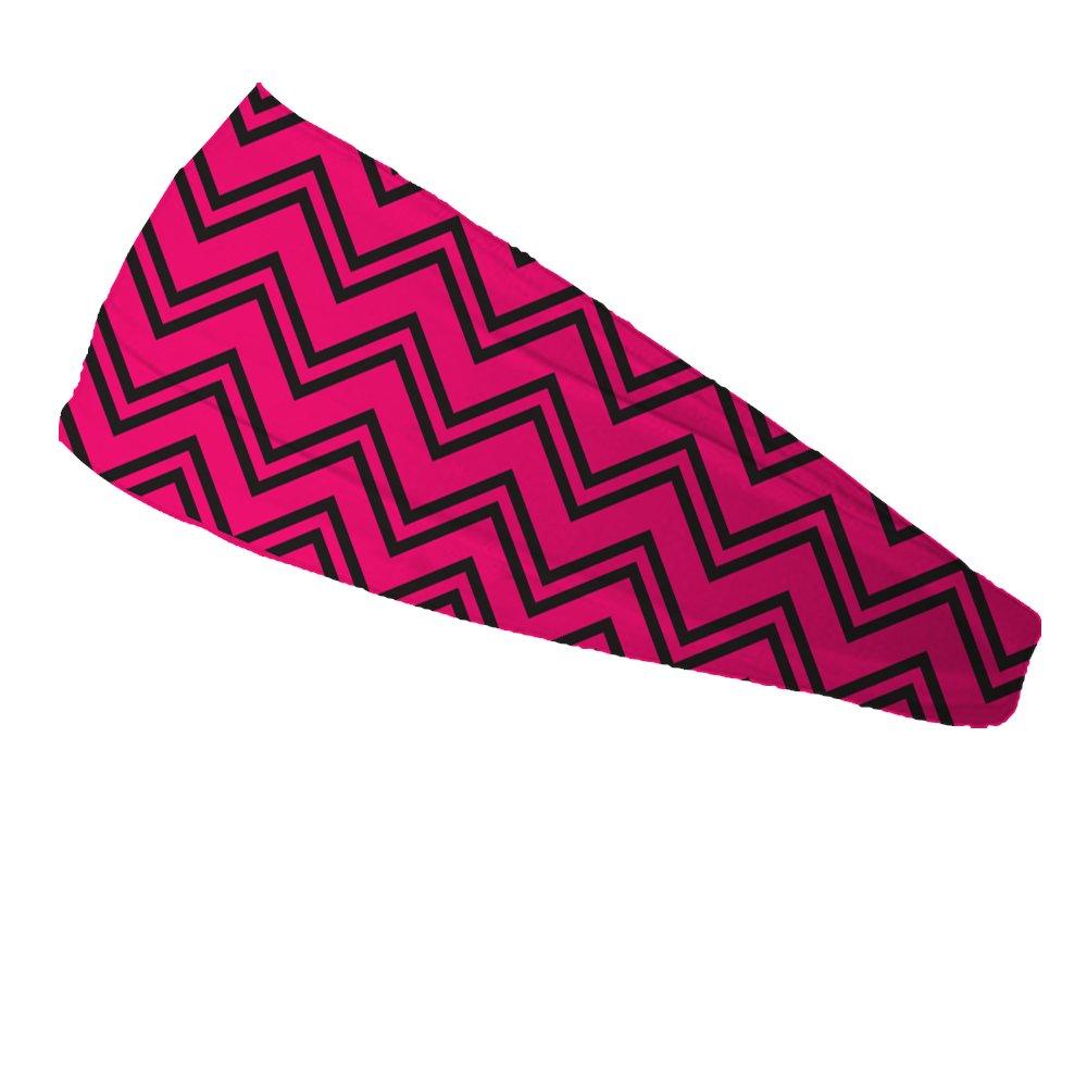 Bondi Band Chevron Hot Pink/Black Moisture Wicking 4″ Headband