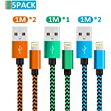 Phone Charger Cable, MFi Certified Phone cable【5Pack-3FT】 Feet Fast Charging Cord Compatible for iPhone Xs Max X 8 7 6S 6 Plus 5S and More-Orange, Green and Blue