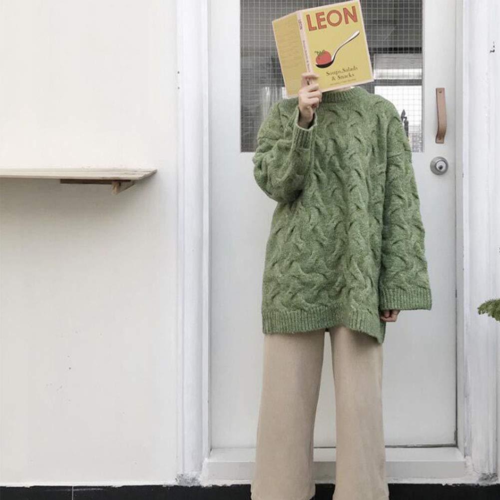 Hongsheng Autumn and Winter Models of Marijuana Loose Versatile Pullover Sweater,Green
