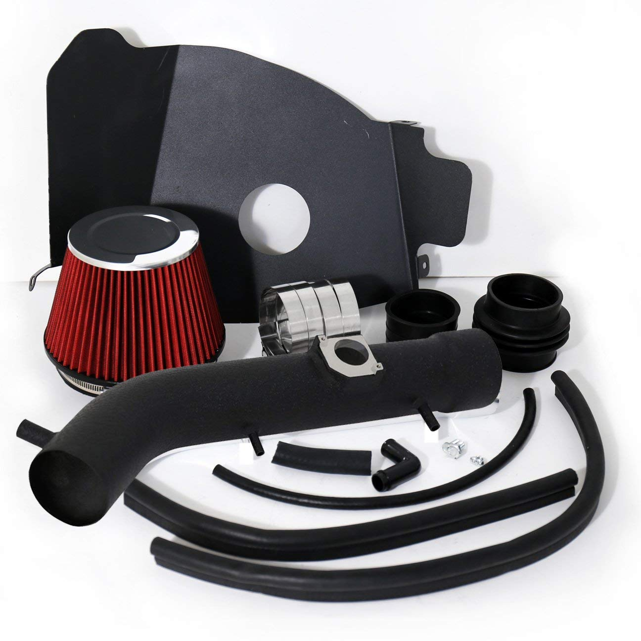 3.4L V6 Engine Only 3.4L V6 Engine Only Aluminum High Flow Air Intake Kit Black Heat Shield Pipe with Red Filter For 1999-2004 Toyota Tacoma //1999-2002 Toyota 4Runner