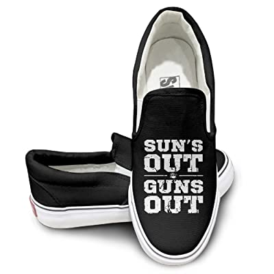 Unisex Suns Out Guns Out High Top Sneakers Canvas Shoes Cool Sport Shoes Dancing Black
