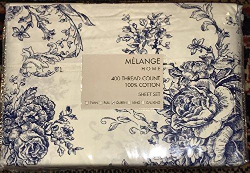 Cotton Toile Sheet Set (Melange Home QUEEN Sheet Set, Navy Floral Toile ALL COTTON (400 thread count))