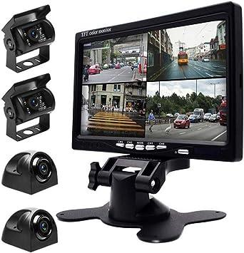 7 Rückfahrkamera Kit Ip68 Wasserdicht Mit Hd Quad Split Monitor 4 X Wasserdichte Ir Nachtsicht Kameras Für 9v 24v Wohnmobile Busse Anhänger Lkw Auto