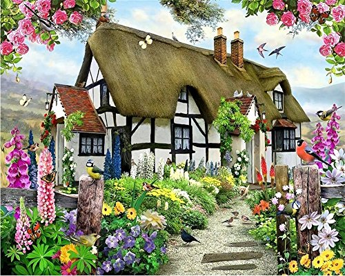 BZDHWWH Custom Wallpapers Gorgeous Pastoral English Country Cottage Rose Garden Children'S Room Tv Backdrop Mural 3D Wallpaper,160Cm (H) X 240Cm (English Country Prints Wallpaper)