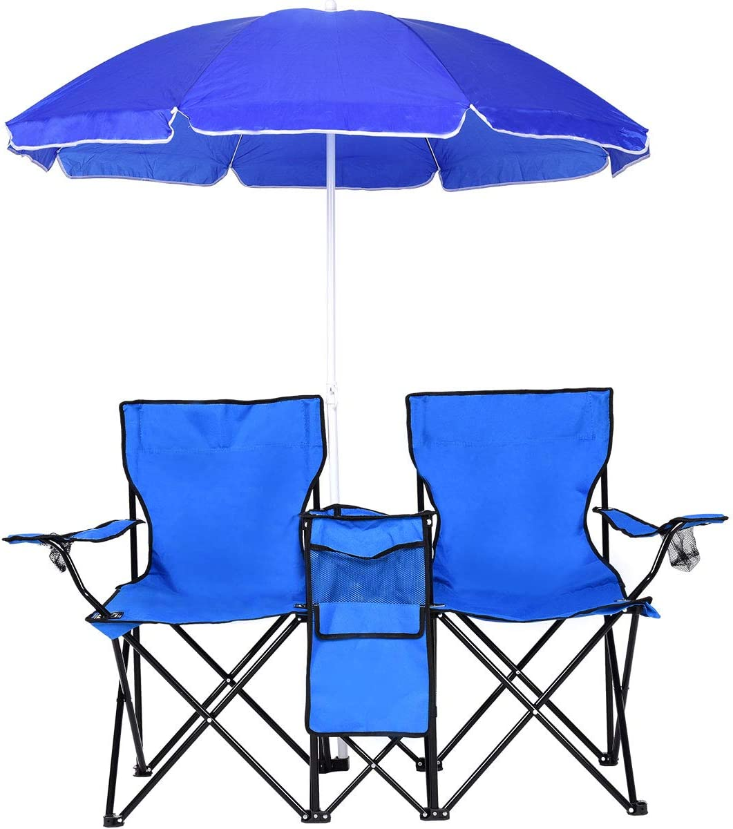 Portable Foldable Outdoor Picnic Beach Camping Double Chair w// Umbrella /& Cooler
