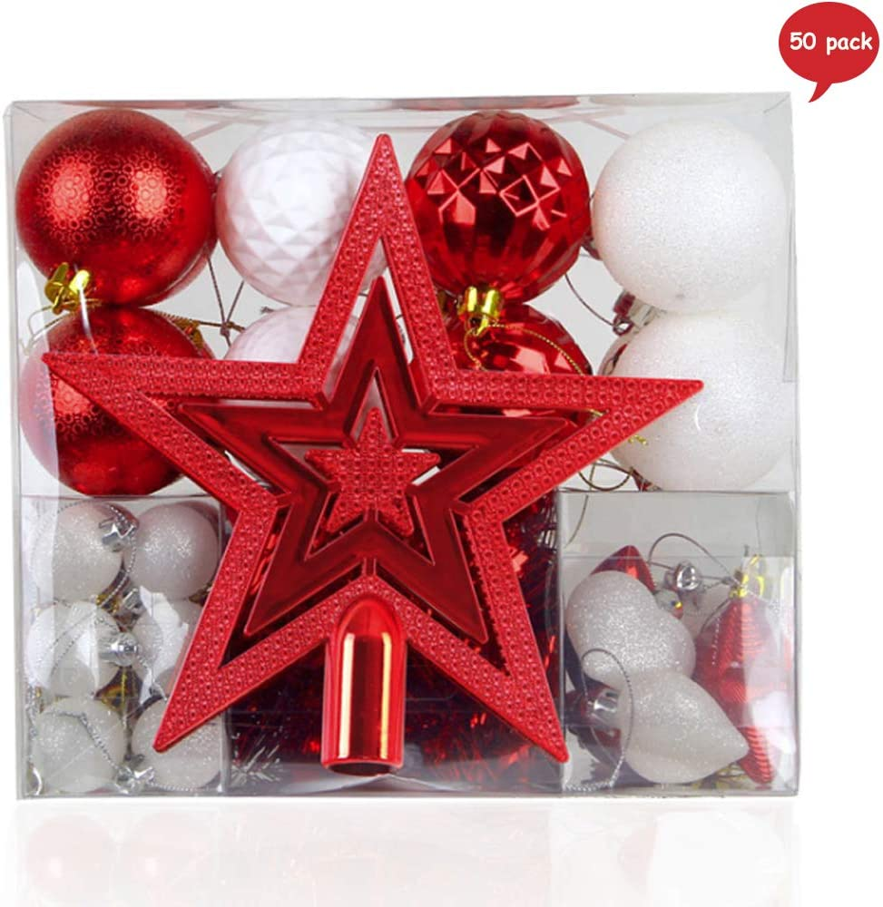 Yisscen Bolas de Navidad, 50 Piezas Adornos de Navidad para Arbol, Decoración de Bolas Navideños Inastillable Plástico de Rojo y Dorado, Regalos de Colgantes de Navidad (Rojo): Amazon.es: Hogar
