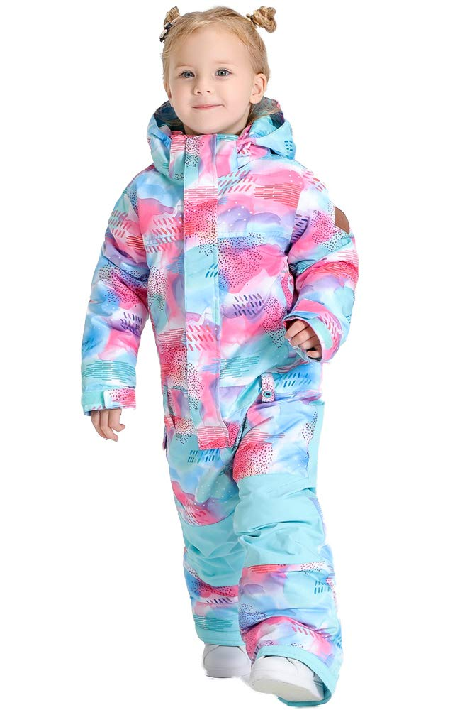 GSOU SNOW Ski Boys Jumpsuits Printed One Piece Girls Snowsuits Winter Suits Skiing Overalls Blue by GSOU SNOW