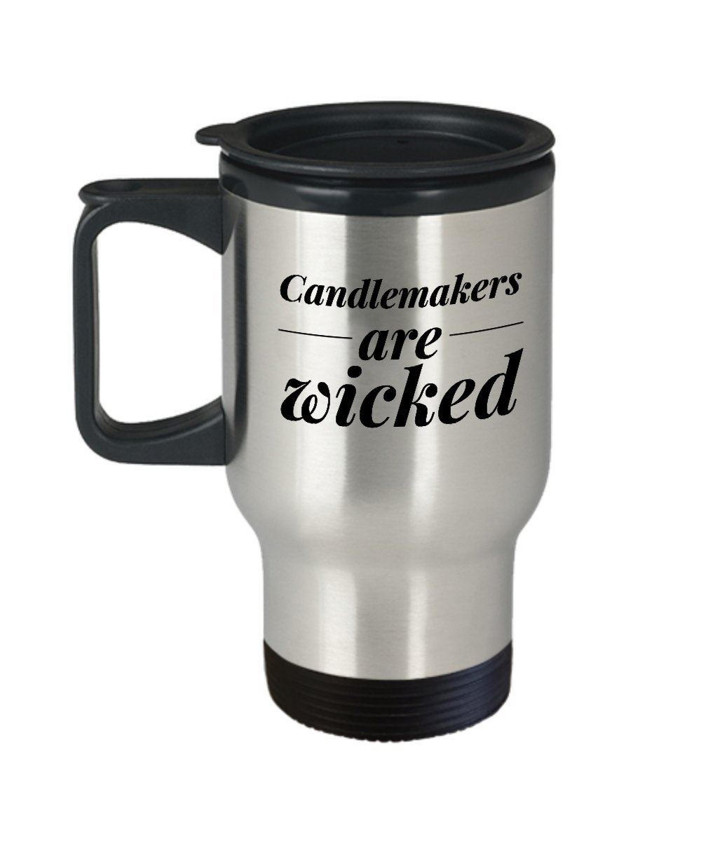 Candleメーカーコーヒーマグ – Candle Makers Are Wicked – ワックステーマギフト – 14 Gステンレススチール旅行カップ   B07448D124