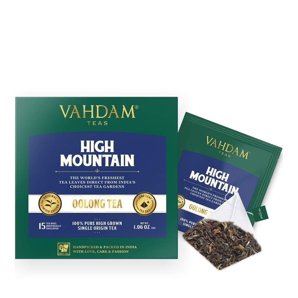 VAHDAM, High Mountain Oolong Tea Bags, 100 Count | 100% Detox Tea | Oolong Tea for Weight Loss | Detox Tea | Oolong Tea Bags 100 Count | Brew Hot, Iced or Kombucha Tea | Packed at Source in India by VAHDAM