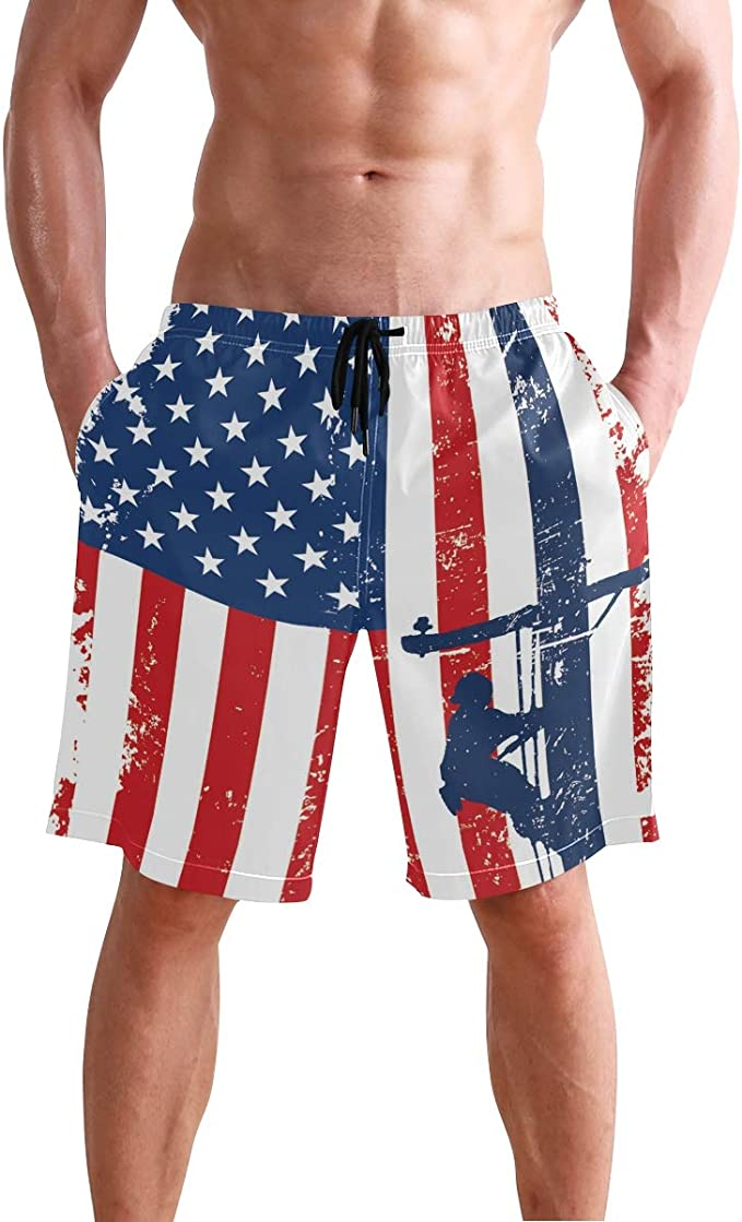 Mens Board Shorts Eagle Blue Sky Holiday Swim Trunks Mesh Lining