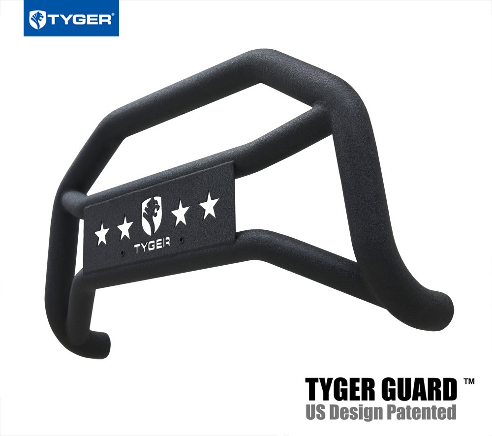 Tyger Auto TG-GD6J60018 Front Bumper Guard Fits 2010-2017 Jeep Wrangler (Excl. Winter Edition), Textured Black, Light Mount, Bull Bar