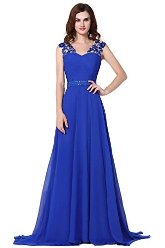 Vegeron Illusion Floral Applique Long Evening Dress for Women Formal Royal Blue with Beads