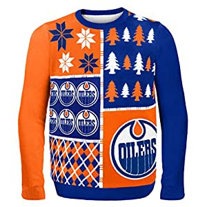Forever Collectibles NHL Edmonton Oilers Busy Block Ugly Sweater, X-Large, Blue
