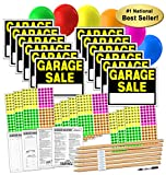Garage Sale Sign Kit with Pricing Stickers and Wood Sign Stakes (A808G)