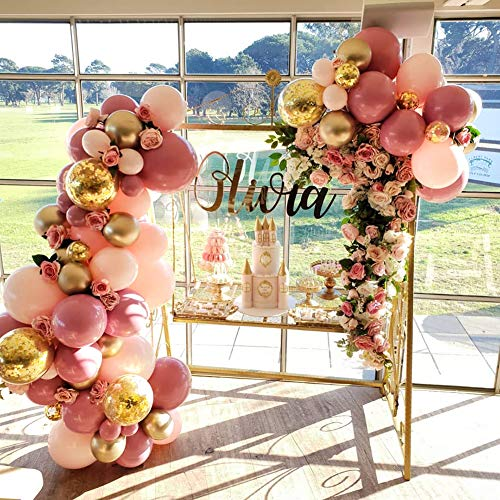 PartyWoo Pink and Gold Balloons, 44 pcs Light Pink Balloons Fuschia Balloons Gold Metallic Balloons Gold Confetti Balloons and Giant Balloon for Princess Party, 4 pcs Pink Giant Balloons Included]()