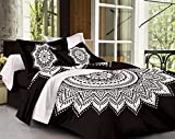 SheetKart Traditional Mandala Cotton King Size Double Bedsheet with 2 Pillow Covers - Black and White