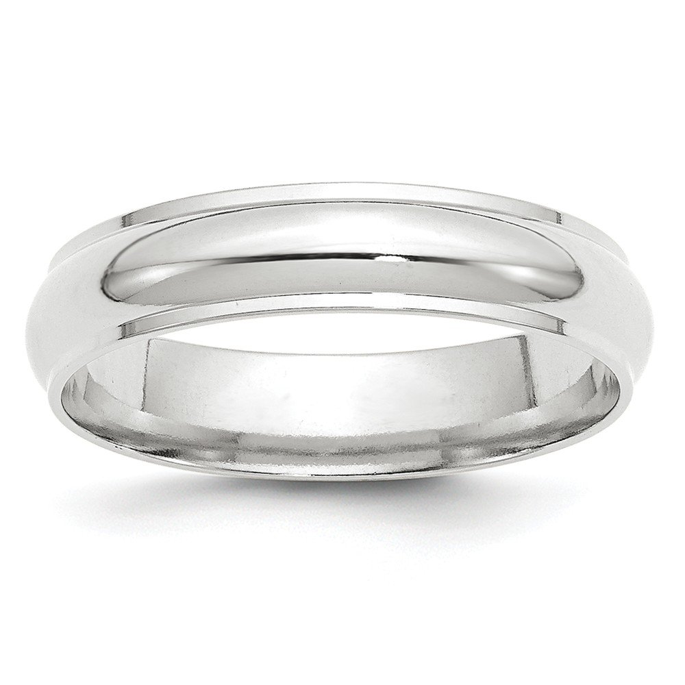 10K White Gold 5mm Half Round with Edge Band Ring