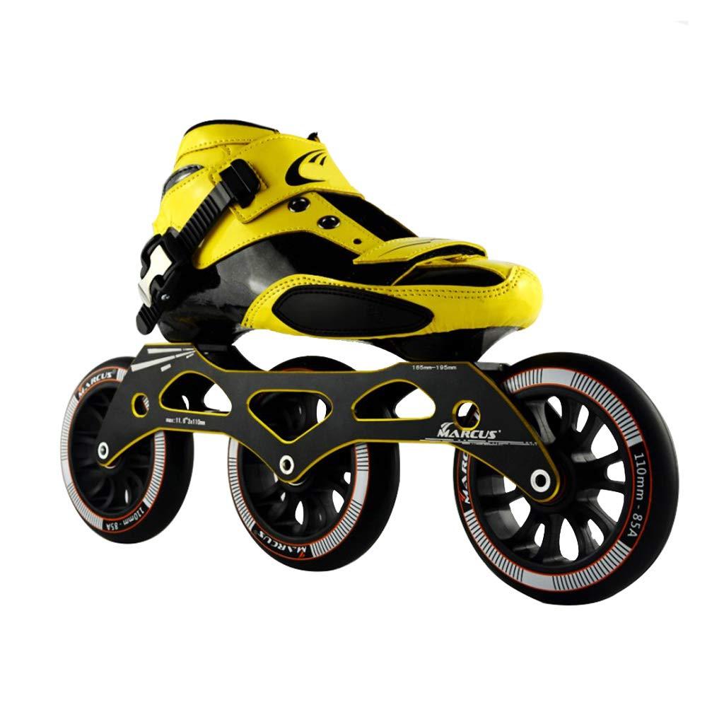 WEN ローラースケート、 スピードスケート靴、 大人の男性と女性のインラインレーシングシューズ、   初心者のスケート靴、 プロのプーリーシューズ ローラースケート Inline skate (色 : 黄, サイズ さいず : 32) B07QVDFKD7 45|ブラック ブラック 45