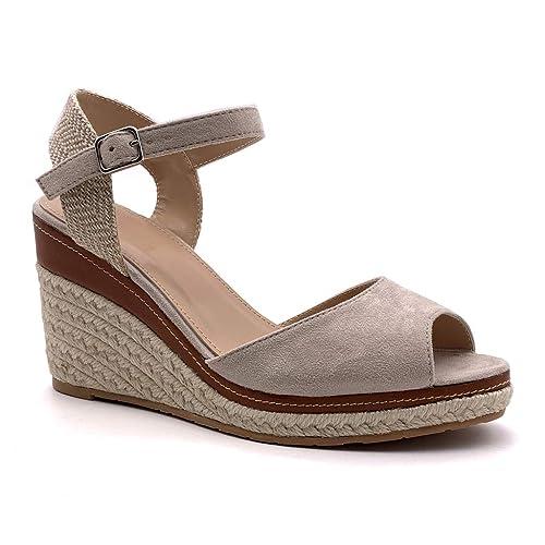 Angkorly Scarpe Moda Sandali Espadrillas con Cinturino alla Caviglia Zeppe Donna Corda Intrecciato Tanga Tacco Zeppa Piattaforma 9 CM