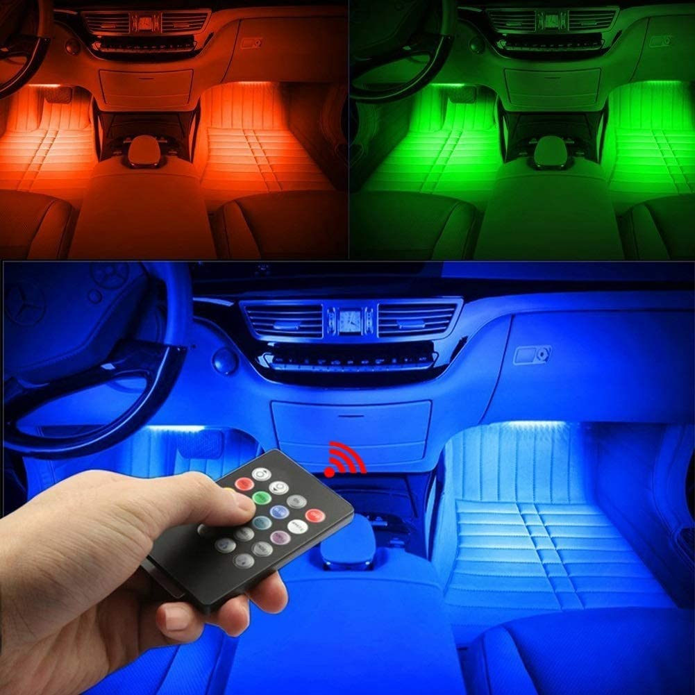 48 LED Strisce di Luce con lAudio Attivato Music Control Dellautomobile LED Strisce di Luce 4 Pezzi Kit di Illuminazione la Luce Interna DellAutomobile di Musica LED