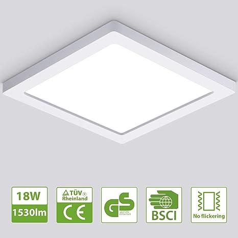 Oeegoo 18W Led Lámpara de techo resistente al agua Plafón Led luz de techo ultra delgado 1530lm Blanco frío 4000K para Dormitorio Cocina Sala de estar ...