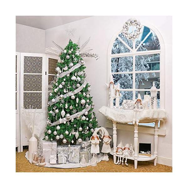 Victor's Workshop 54 Pezzi 3cm Palline di Natale, congelati Inverno Argento e Bianco Infrangibile Palla di Natale Ornamenti Decorazione per la Decorazione Dell'Albero di Natale 7 spesavip