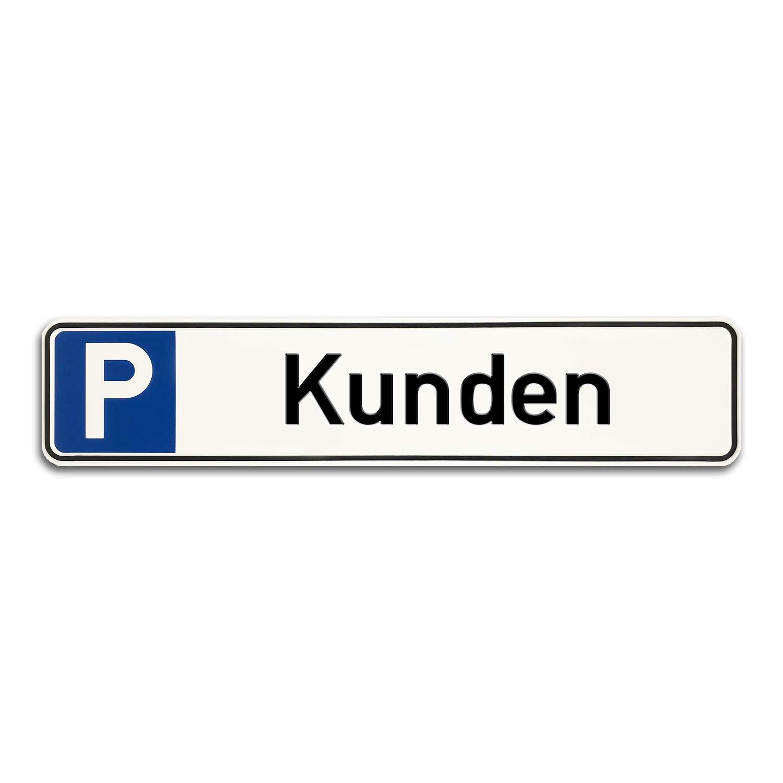 Betriebsausstattung24 Individuelles Parkplatzschild mit Wunschpr/ägung KFZ-Kennzeichen Originalma/ße von 52,0x11,0 cm f/ür Ihren Parkplatz /& Stellplatz oder Kunden /& Besucher