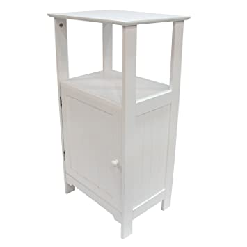 Amazoncom Adeco Free Standing 3 Shelf Bathroom Cabinet White
