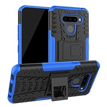 Funda para LG K50, LG Q60 Carcasa Antigolpes Robusta Case 360 Doble Capas Protector Resistente Golpes Caída con Soporte Cubierta Color Azul